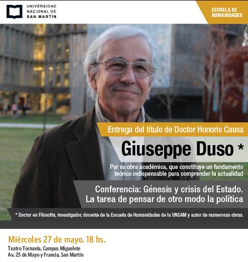 Conferencia de Giuseppe Duso y entrega de doctorado Honoris Causa